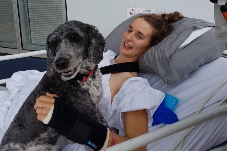 Emma Mickle in hospital