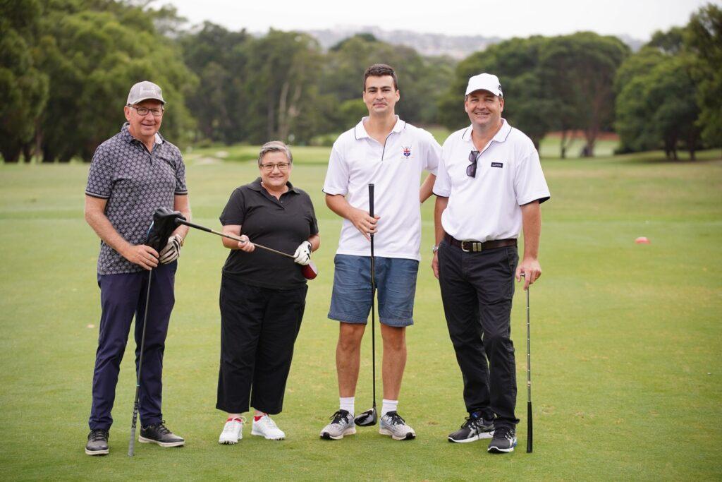 From left,  Paul Kozub, Trina McGuffog, Alex Mackinnon, Chris Mackinnon. on the golf course