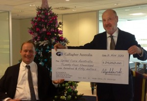Gallagher cheque for spinal cord injury research